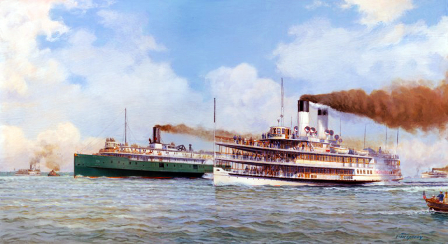 Watercolor of the Erie and Tashmoo race